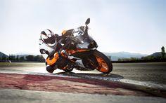 Download wallpapers KTM RC 390, 4k, 2018 bikes, sportbikes, rider, austrian motorcycles, KTM