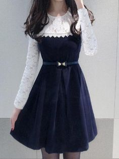 #BFCM #CyberMonday #PopJulia - #PopJulia Elegant Lace Paneled 3/4 Sleeve Dress - AdoreWe.com