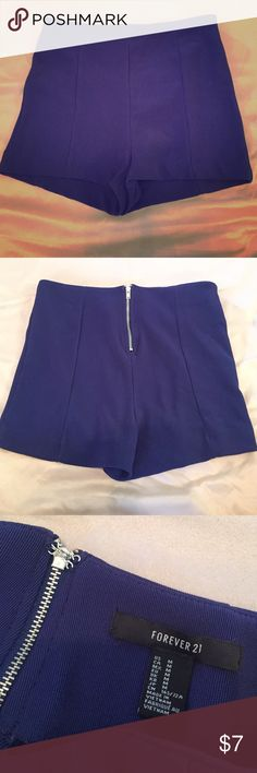 Navy Blue Stretchy High Waisted Shorts Lightly worn and still in great condition! Zip and hook in the back for a perfect fit! Size medium but fits a little small. Forever 21 Shorts