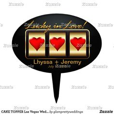 CAKE TOPPER Las Vegas Wedding Lucky black gold