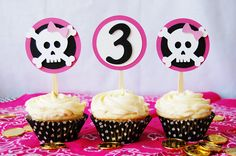 Girl Pirate pARRRty Cupcake Toppers by PinwheelLane on Etsy, via Etsy.