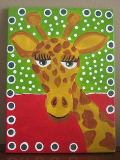 Acrylic Giraffe Painting on wrapped canvas. $35.00, via Etsy.