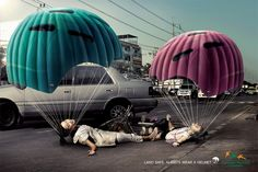 "Thai Health Promotion Foundation: ""Land safe. Always wear a helmet."" #Advertising"