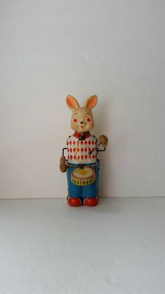 Tin Drumming Rabbit 1970s by FlatRockGoods on Etsy
