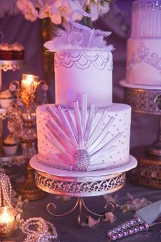 "Great Gatsby cake with ""S"" Diamond Deco Serine's 21st Birthday  @rafispastry @Melody Gee Melikian Photography"