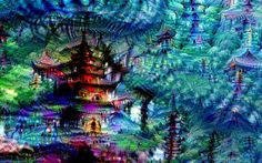 Google Deep Dream Japan  This spectacular image was originally of a Japanese pagoda. It's still there, but circled by more than a dozen other mini-pagodas.
