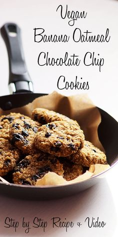 Vegan Chewy Banana Oatmeal Chocolate Chip Cookies Recipe with step by step photo… - Chocolatte Chip Cookies Banana Recipes Eggless, Healthy Banana Recipes, Ripe Banana Recipe, Eggless Baking, Vegan Recipes, Cookie Recipes Without Eggs, Easy Cookie Recipes, Flour Recipes, Banana Oatmeal Chocolate Chip Cookies