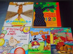 Pre-owned, good. Chicka Chicka 123 by Bill Martin Jr 2007. Moosetache by Margie Palatini 1997.   eBay!