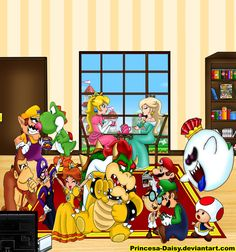 Super Mario Team by Princesa-Daisy on DeviantArt Mario Bros., Mario And Luigi, Princesa Daisy, Ninja Games, King Boo, Super Mario Art, Nintendo Characters, Super Mario Brothers, Amazing Adventures