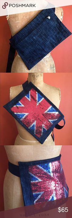 cross body/ waist bag aka fanny pack Statement piece. Handmade cross body or waist bag. Rich Dark denim and vibrant sequined British flag. Great for a day out and about at the park or having brunch with family and friends. Andy Drew 2 The Brand Bags Crossbody Bags