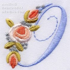 Amazing Embroidery Designs  Letter O with roses