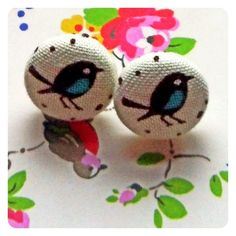 Birds and crumbs 50s style blue and brown bird stud earrings £6.00