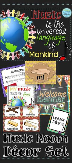 """Music is the universal language of mankind"" - Music room decor pack. Includes inspirational quote posters, ""Welcome to Music"" pennant banner, 2 bulletin board kits, solfege hand sign posters, dynamic posters, instrument labels for classroom and Orff instruments, binder covers and more! #musicedchat #music #multiculturalmusic #worldmusic #Orff #Kodaly #Dalcroze #musicroom #KodalyInspiredClassroom"