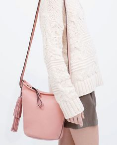 ZARA - SHOES & BAGS - LEATHER BUCKET BAG WITH TASSEL