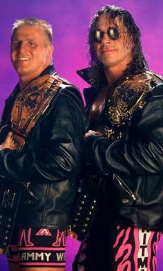 "WWE Intercontinental Champion Owen ""The Rocket"" Hart and his brother, WWE World Heavyweight Champion Bret ""Hitman"" Hart"