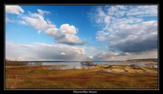 spring photo with the impassability of roads and the moon | sky, field, river, panorama, spring