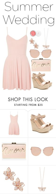 """""""summer wedding"""" by downeastgirl88 ❤ liked on Polyvore featuring Topshop, BCBGMAXAZRIA, NAKAMOL, Alex Monroe, Summer, Pink, dress, summerwedding and polyvorecontest"""