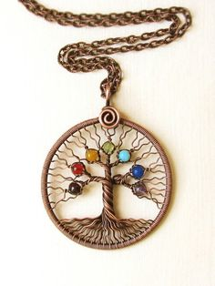 Chakra pendant Yoga-Necklace Tree of Life Pendant copper wire Family tree Rainbow pendant Universal gift chakra stones *** This pendant already found the owner ;), but for you I will make similar ;) it will take about 1 week. This Tree of Life is wire-sculptured with copper wire and Chakra Stones. The pendant was oxidized and hand polished. If you want to prevent tarnishing - let me know and I varnish it. It take two days.  Stones: Amethyst - Sahaswara - Understanding oneself Blue jade…