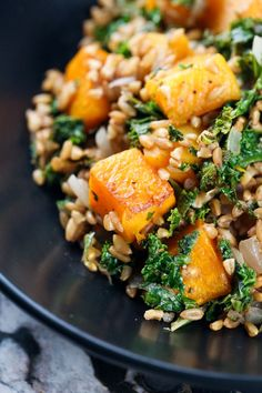 This Kale Butternut Squash Farro Salad is the perfect zesty yet nutty fall comfort food. The lemon in this recipe balances out the natural bitterness of the kale while the farro and butternut squash come together to add a sweet nutty flavor.