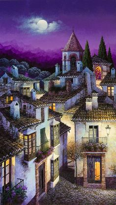 Illustration/Painting by Luis Romero Foto Fantasy, Fantasy Art, Beautiful Paintings, Beautiful Landscapes, Pintura Colonial, Spanish Painters, Naive Art, Painting Techniques, Home Art