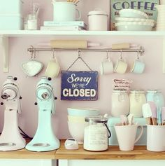 was going to re-do my kitchen in grey and red scheme....but loving the pastel…