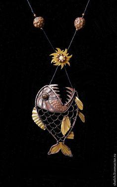 Когда Рыба съедает Солнце, наступает Ночь... (подвеска, кулон из меди). Handmade by Elena Schelchkova 2015.
