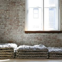 wool knitted cushions