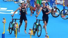 Alistair Brownlee and Jonathan Brownlee of Great Britain compete in Triathlon