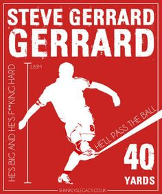 Original LFC T-shirt design of Steven Gerrard. Playing on the famous song. Football Icon, Liverpool Football Club, Stevie G, Liverpool Fc Wallpaper, Premier League Soccer, This Is Anfield, Captain Fantastic, You'll Never Walk Alone, Steven Gerrard