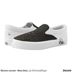 Electric current - Retro Design Shoe - Printed Unisex Canvas Slip-On #Shoes Creative Casual #Footwear #Fashion #Designs From Talented Artists - #sneakers #feet #fashion #design #fashiondesign #designer #fashiondesigner #style - Look sporty stylish and elegant in a pair of unique custom sneakers - Each pair of custom Low Top ZIPZ Shoes is designed so you can fit your style to any wardrobe mood party or occasion - Fashionable sneakers for kids and adults give you a unique and personalized way…