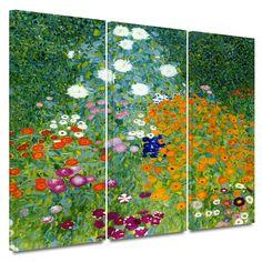 'Farm Garden' by Gustav Klimt 3 Piece Painting Print Gallery-Wrapped on Canvas Set | Wayfair