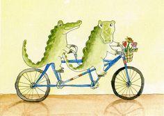 Alligators+on+a+Tandem+greeting+card+by+juniperstreetstudios,+$3.50