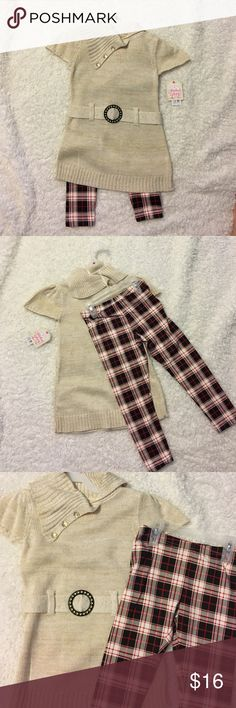 Faded glory XS (4-5) fashionable two piece Cute and stylish, never worn. NWT. Plaid pants with long top Faded Glory Matching Sets