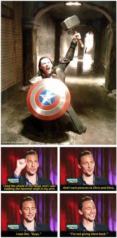 "Tom Hiddleston... I was like, ""Guys""... I'm not giving them back. Omg I love Hiddles. <3"