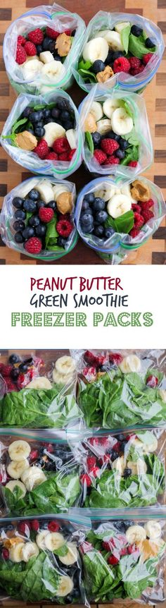 Peanut Butter Green Smoothie Freezer Packs - assemble these smoothie ingredients ahead of time and freeze them for quick smoothies! Add smoothies packs to your list of meal prep for the week tasks! Breakfast Smoothies, Fruit Smoothies, Healthy Smoothies, Healthy Drinks, Smoothie Recipes, Healthy Snacks, Breakfast Recipes, Healthy Eating, Healthy Recipes