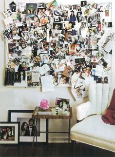 Sofia Coppola's walls - fun photo collage idea...wall by laundry room?