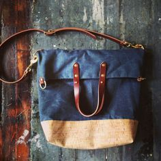 dreamy. fold over city tote in waxed denim and cork.