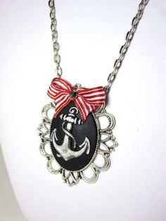 Large Sailor Anchor Pendant with stripe bow by MissLizzyD on Etsy, $13.00  http://www.etsy.com/shop/misslizzyd