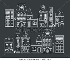 Ideen rund ums Haus vector illustration of europe and american houses by Vector pro, via ShutterStoc Christmas Doodles, Christmas Mood, Christmas Crafts, Christmas Window Decorations, Christmas Window Display, Christmas Chalkboard Art, American Houses, Theme Noel, Window Art