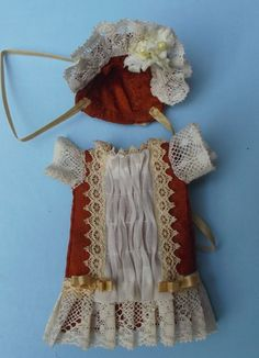 Antique style outfit in terracotta natural silk for mignonette
