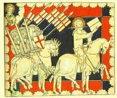Bildhafte Darstellung des Kreuzzugsgedanken: Christus auf dem Weg nach Jerusalem, gefolgt von seinen Rittern. 14.Jh. British Museum, London.