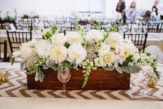 #centerpiece #dahlia Photography by kaylaadams.net Floral Design by maranathaflowers.com/ Read more - http://www.stylemepretty.com/2013/08/01/riverside-wedding-from-kayla-adams/