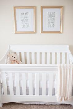 two prints over crib : Nursery from The Resplendent shared on AveryGrace.com