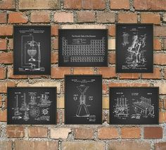 Science Patent Prints Set of 6 - Chemistry Wall Art - Periodic Table Microscope Laboratory Equipment Poster Set Of 6 - Chemist Gift Idea