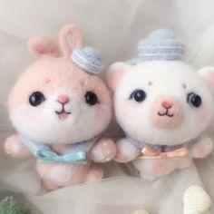 Handmade needle felted felting cute animal project teddy bear bunny toys Needle felt felted felting woolfelt
