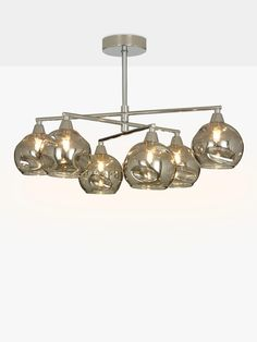 Buy John Lewis & Partners Susa Semi Flush, 6 Arm Smoked Glass Ceiling Light, Chrome/Grey from our Ceiling Lighting range at John Lewis & Partners. Flush Lighting, Pendant Lighting, Glass Ceiling Lights, Ceiling Lighting, Ceiling Shades, Susa, Polished Chrome, Glass Shades, John Lewis