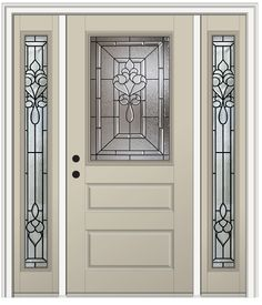 Shown is a Fontainebleau 1/2 Lite Horizontal 2-Panel Entry Door with Sidelites Painted Wicker. View our entire Fontainebleau Collection at DoorBuy.com!