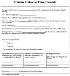 Training Evaluation Form training evaluation form Sample