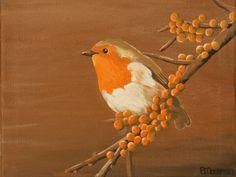 Schilderij - Roodborst   Painting   Petra Moerman