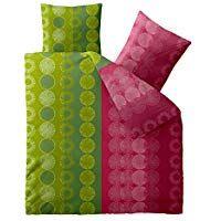 Bettwasche 200x200 Baumwolle Trend Dafina Streifen Kreise Grun